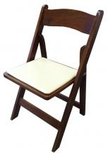 Fruitwood Folding Chair with Tan Cushion